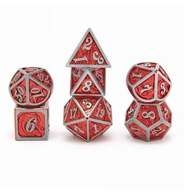 Hymgho Dice US Hymgho 7-Set Metal Dragon Silver with Red Dice