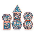 Hymgho Dice US Hymgho 7-Set Metal Dragon Copper with Light Blue Dice