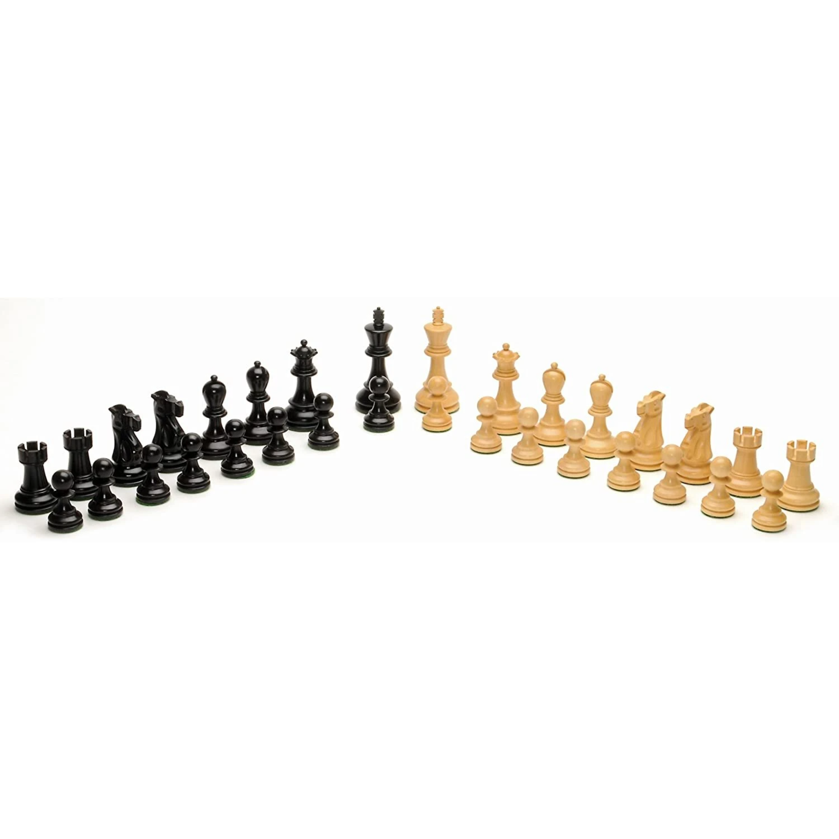 """Wood Expressions Black-Stained Kari Chess Pieces 3.5"""" Jacques Staunton"""