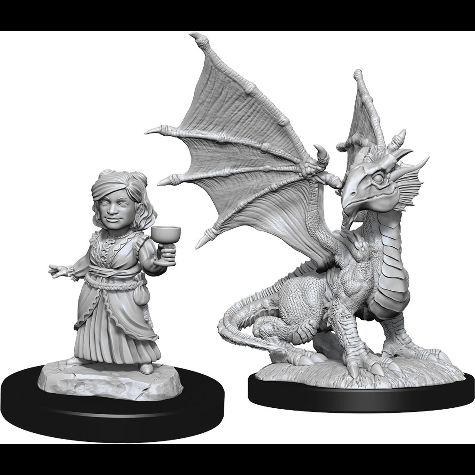 WizKids Minis Dungeons & Dragons: Silver Wyrmling & Halfling Wave 13