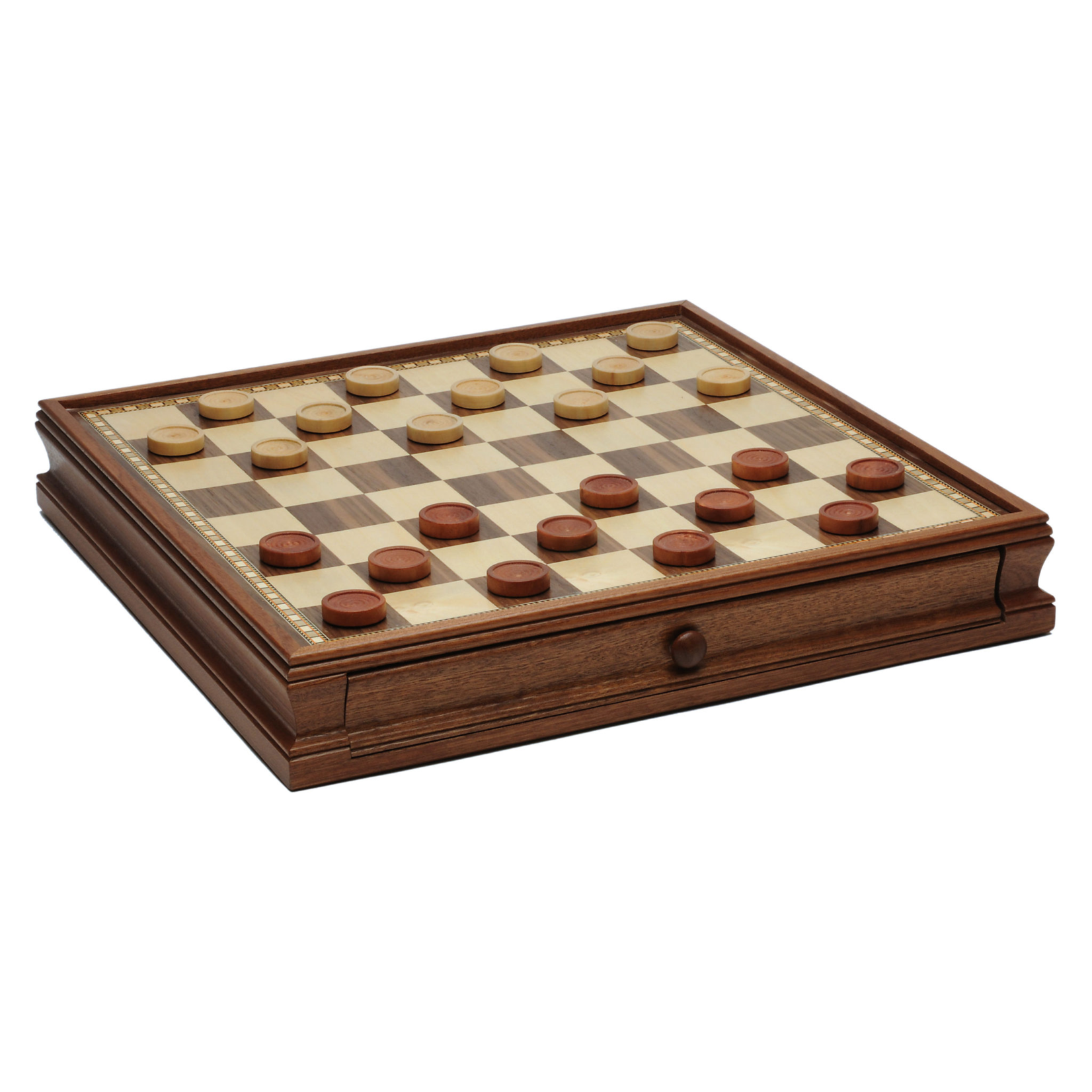 """Wood Expressions [Pickup Only] Chess Board 18"""" with Drawer and Checkers"""