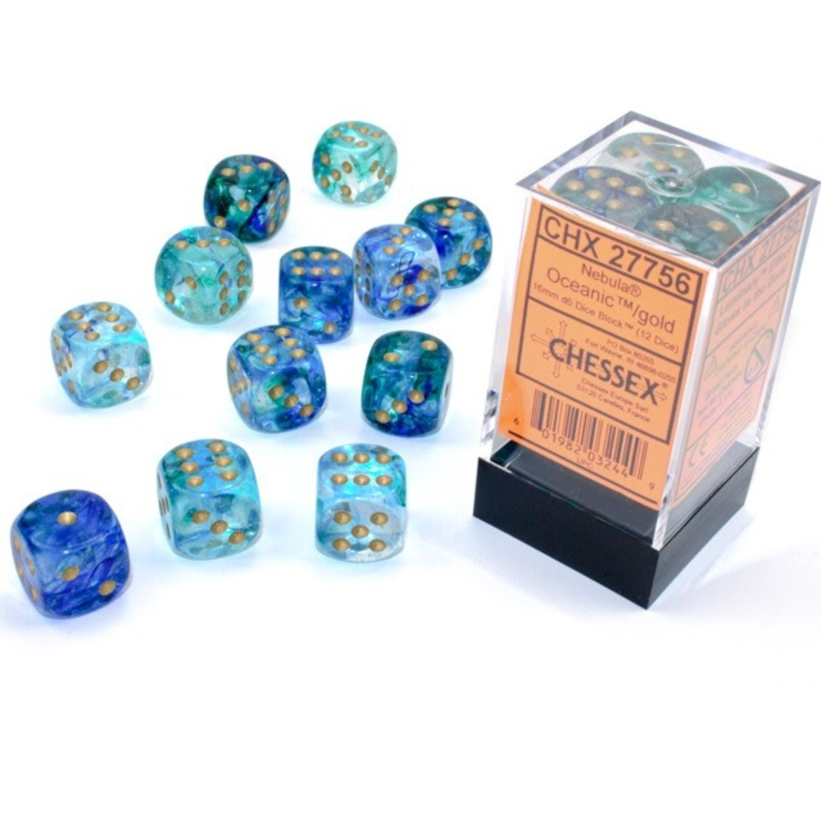 Chessex Dice: D6 Cube 16mm Nebula Oceanic with Gold Pips Luminary