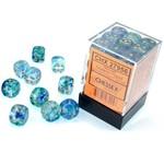 Chessex D6 Cube 12mm Nebula Oceanic/Gold Pips Luminary