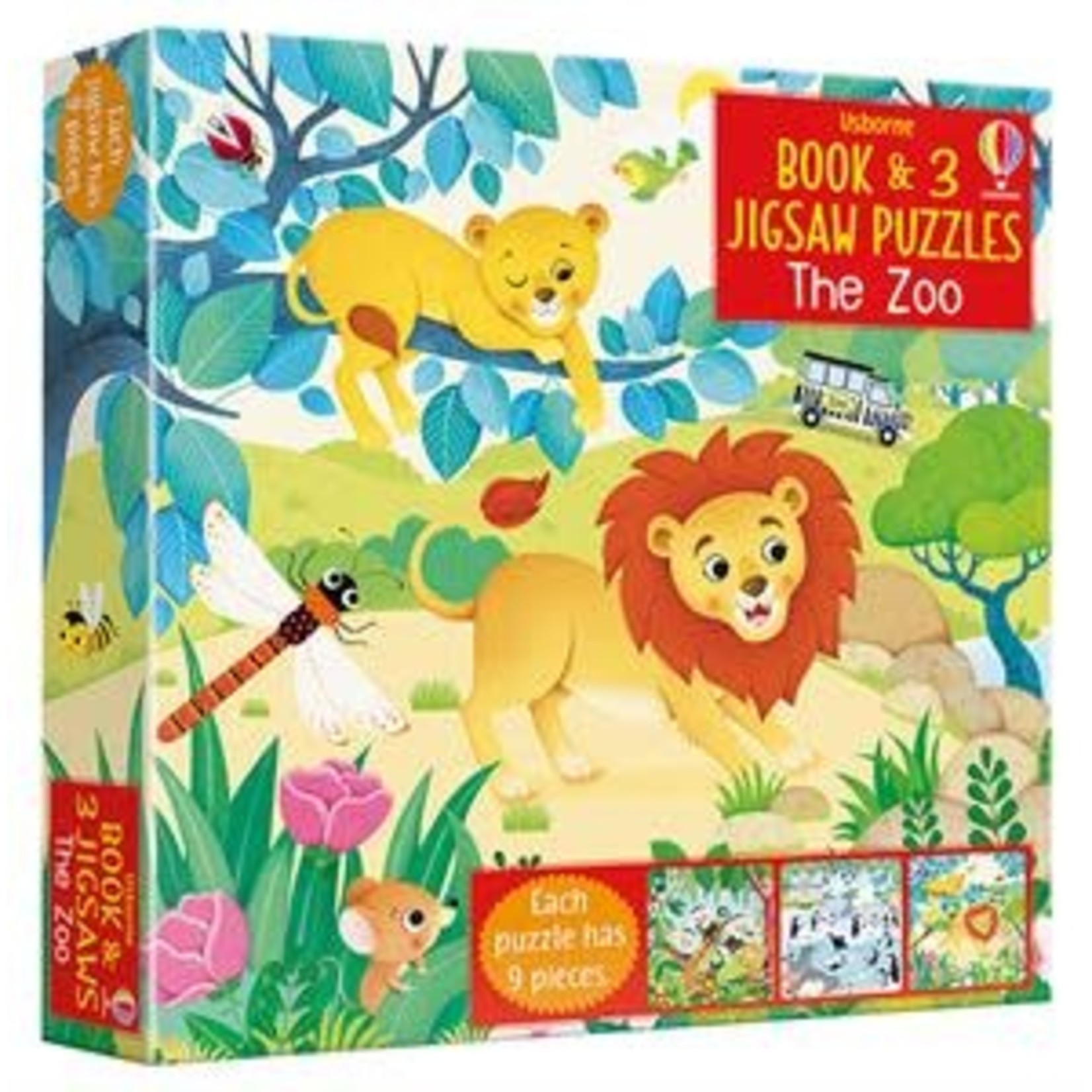 Usborne Book & 3 Jigsaw Puzzles: The Zoo (9 pieces)