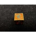 Hymgho Dice US Hymgho: D6 Gold and Orange with Blue Lettering Solid Metal Dragon Die