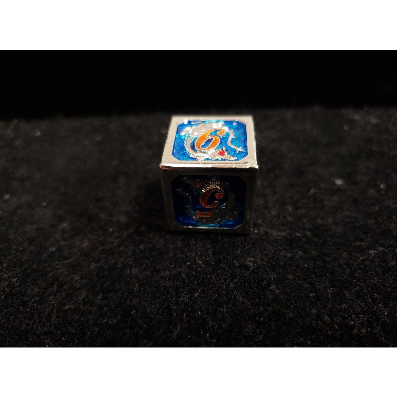 Hymgho Dice US Hymgho: D6 Silver and Blue with Orange Lettering Solid Metal Dragon Die