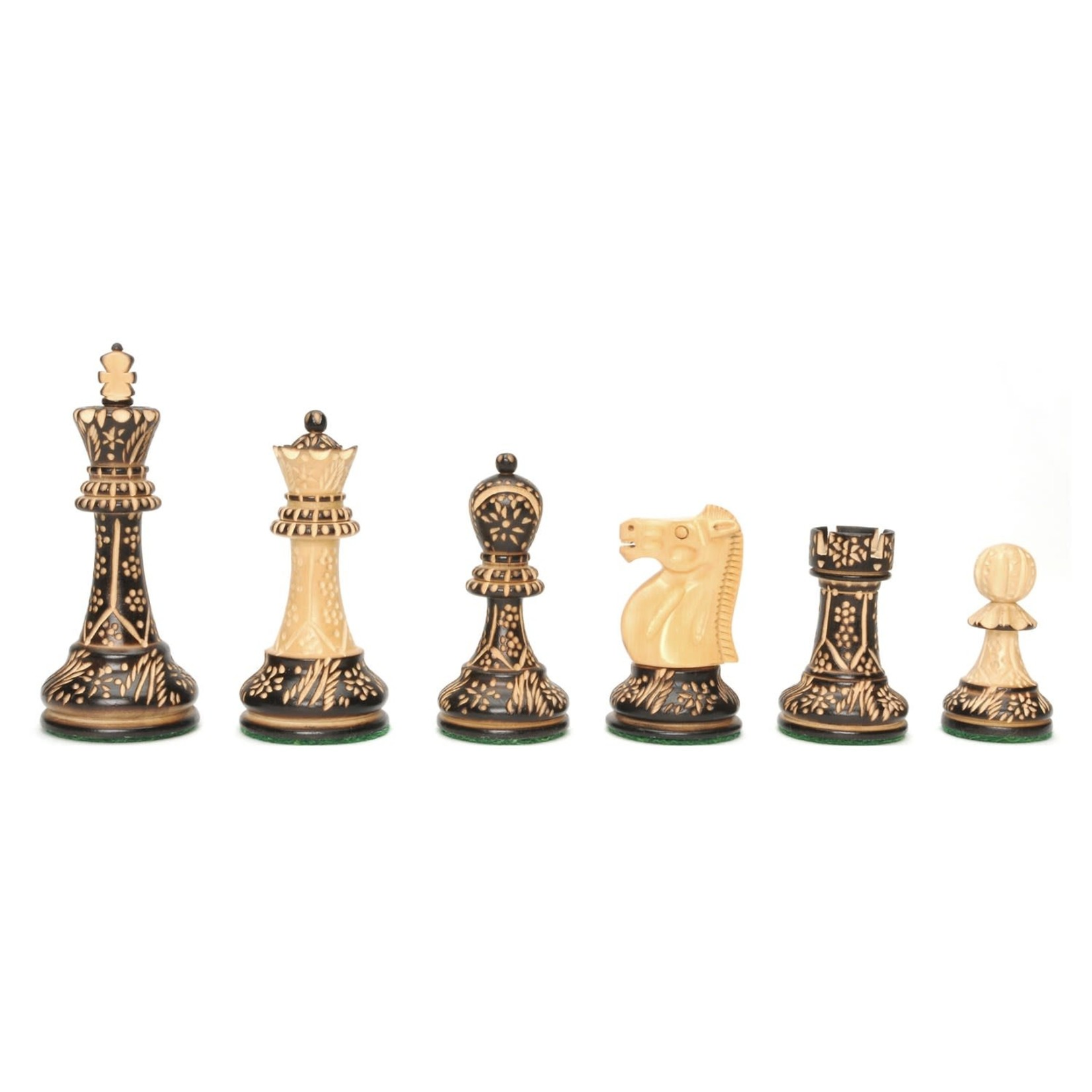 """Wood Expressions Chess Pieces 4"""" Staunton Floral Etched"""