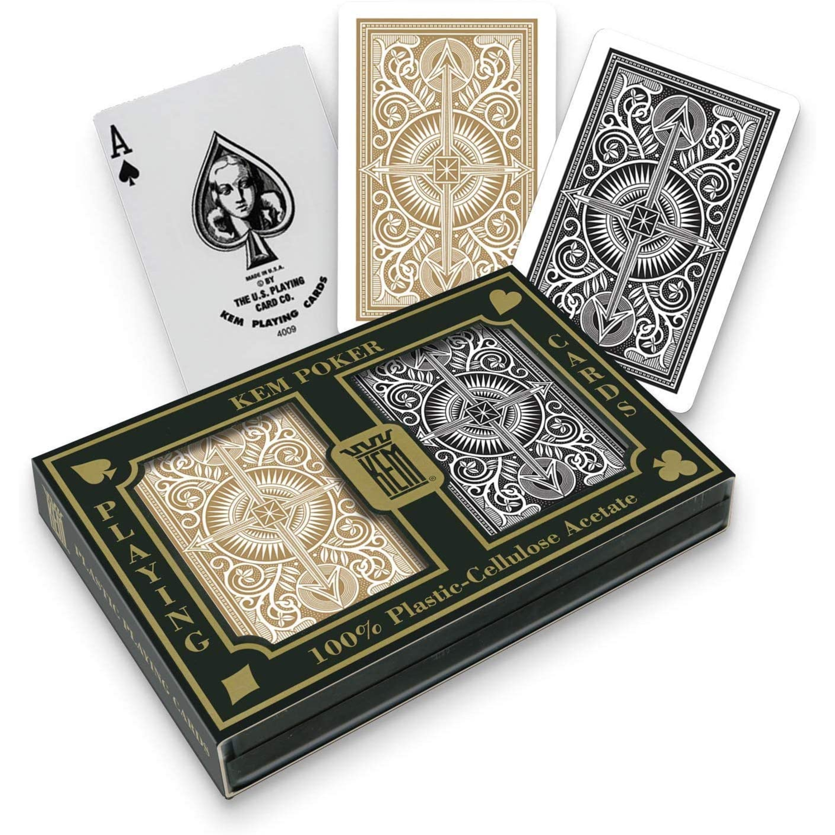 Kem Kem Plastic Wide Index Black & Gold Playing Cards
