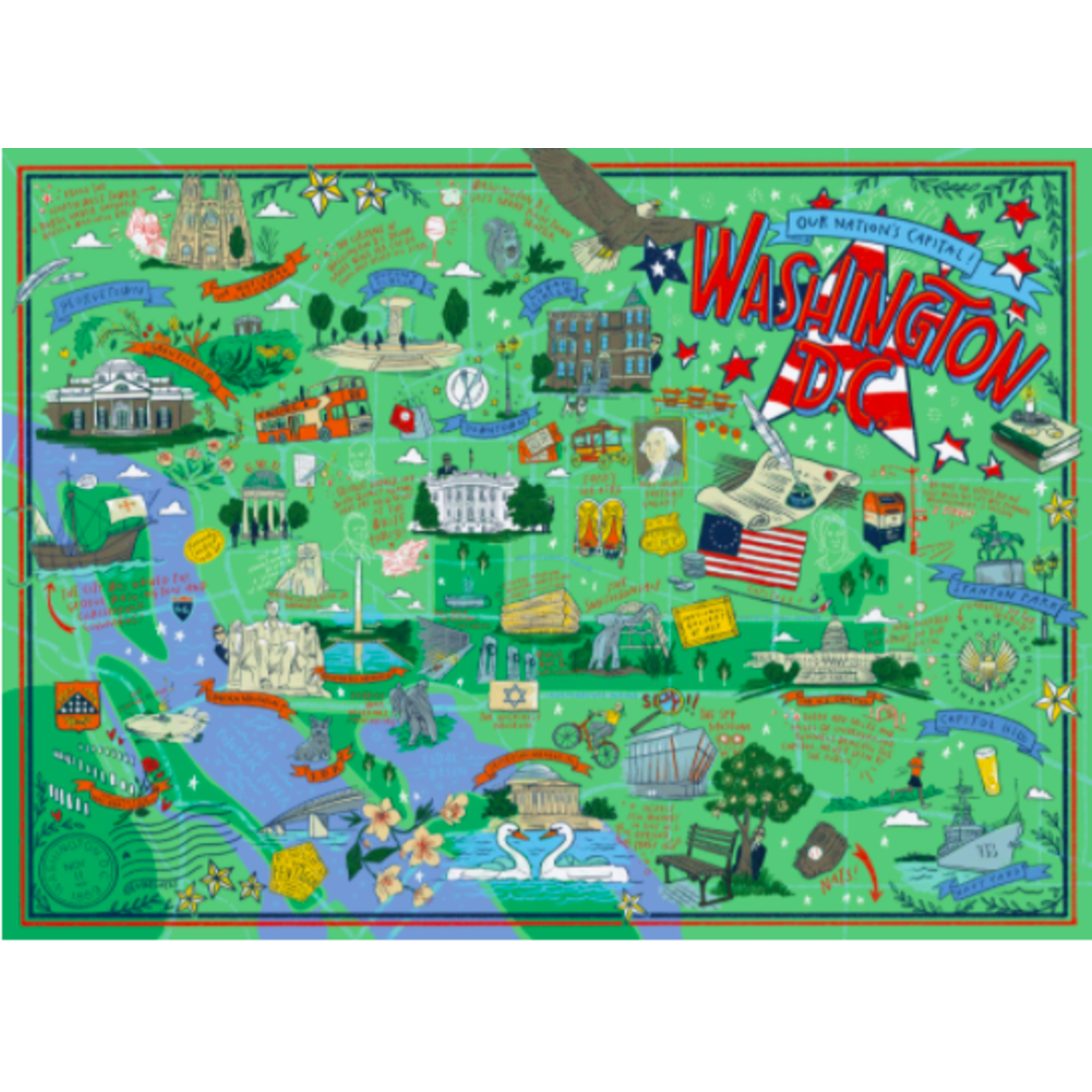 True South Puzzle Washington, DC Illustrated Jigsaw Puzzle (500 pieces)