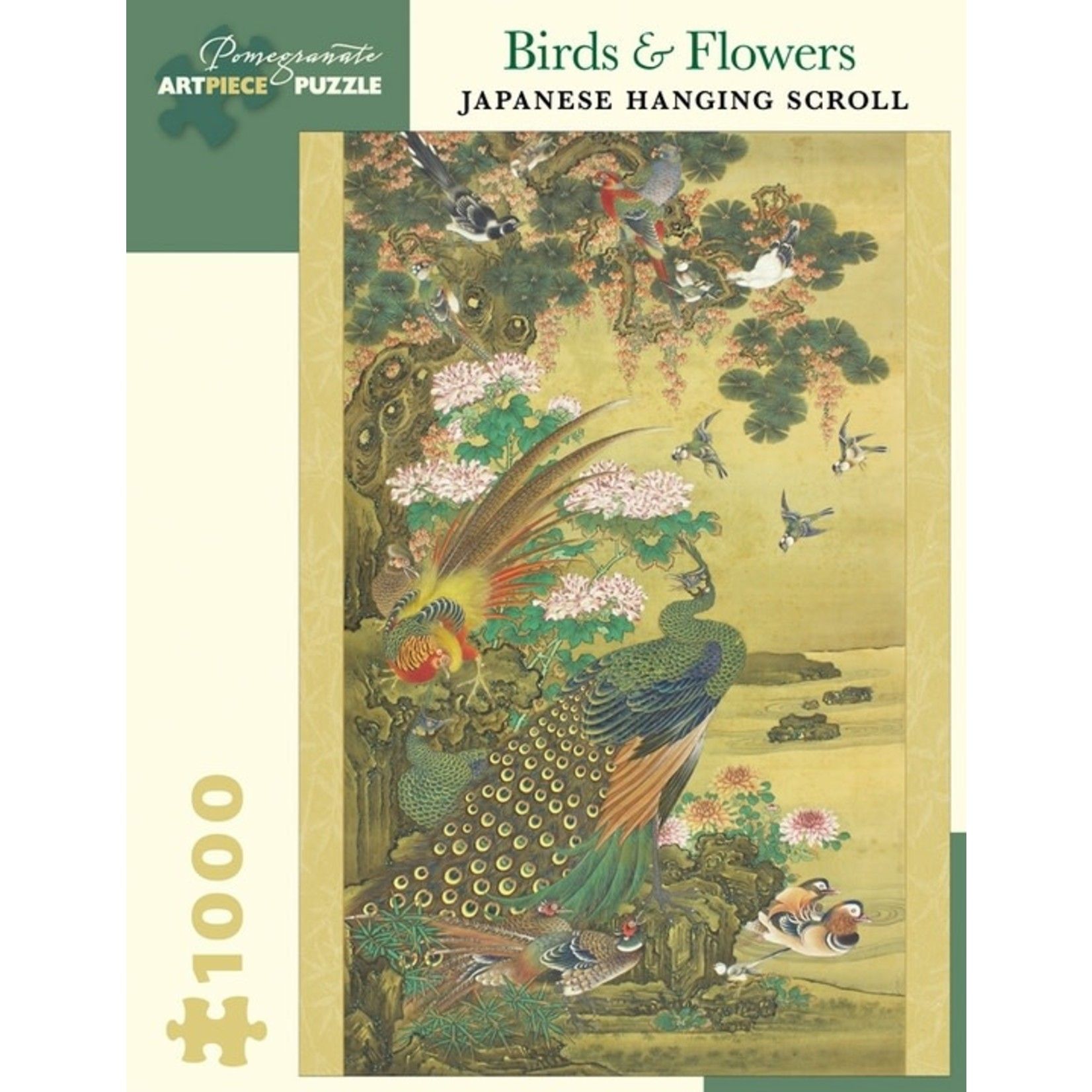 Pomegranate Birds & Flowers: Japanese Hanging Scroll (1000 pieces)