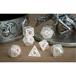 Hymgho Dice US Hymgho 7-Set Matte Silver with Red Enamel Hollow Metal Gears of Providence