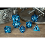 Hymgho Dice US Hymgho 7-Set Blue with White Enamel Hollow Metal Dragon