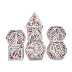 Hymgho Dice US Hymgho 7-Set Matte Silver with Red Enamel Hollow Metal Dragon