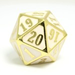 Die Hard Dice Roll Down D20 Shiny Gold & White