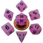 Metallic Dice Games 7-Set Mini Dice: Glow in Dark Purple with Black