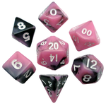 Metallic Dice Games 7-Set Mini Dice: Pink Black with White