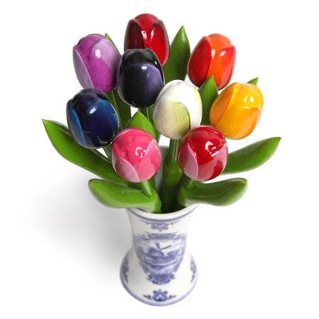 9 Mini Wooden Tulips in a Delft Blue Vase