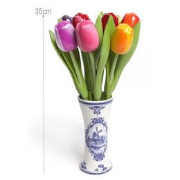 9 Large Wooden Tulips in a Delft Blue Vase