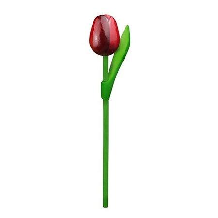 Large Wooden Dutch Tulip Red & Aubergine