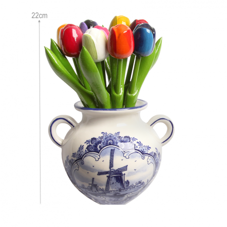 9 Wooden Tulips in a Delft Blue Wall Hanger Vase