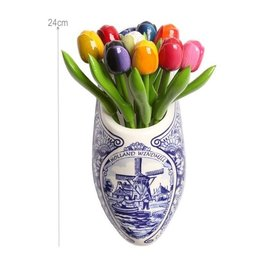 9 Wooden Tulips in a Delft Blue Wooden Shoe
