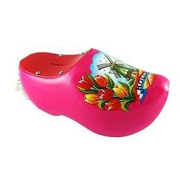 Pink Wooden Shoe Money Bank
