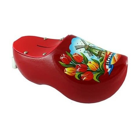 Red Wooden Shoe Money Bank