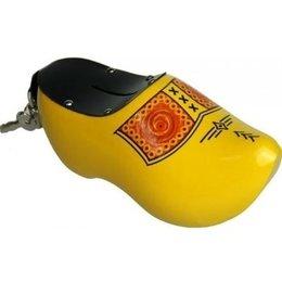 Yellow Farmer Wooden Shoe Money Bank