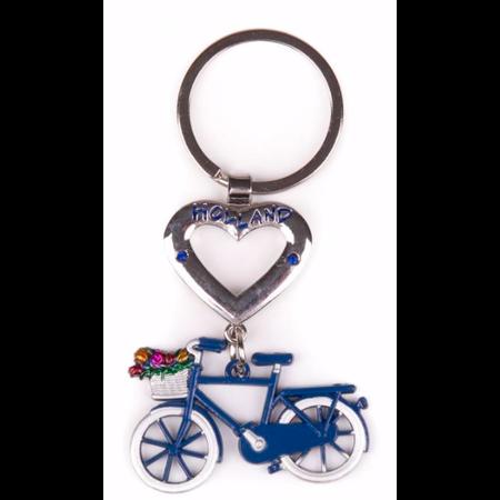 Holland Heart Blue Bike Keychain