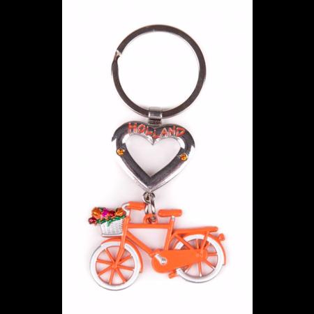 Holland Heart Orange Bike Keychain