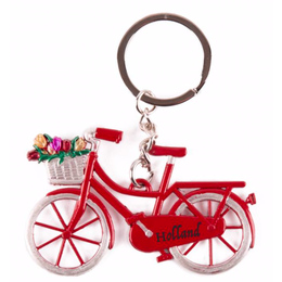 Red Bicycle with Tulips Keychain