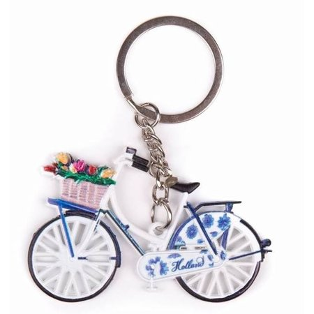 White Bicycle with Tulips Keychain