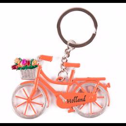 Orange Bicycle with Tulips Keychain