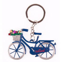 Blue Bicycle with Tulips Keychain