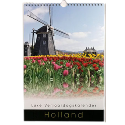 Holland Perpetual Birthday Calendar Windmill and Tulips