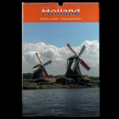 Holland Perpetual Birthday Calendar Windmill on Canal