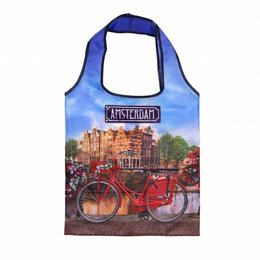Bicycle on Bridge Foldable Shopping Bag