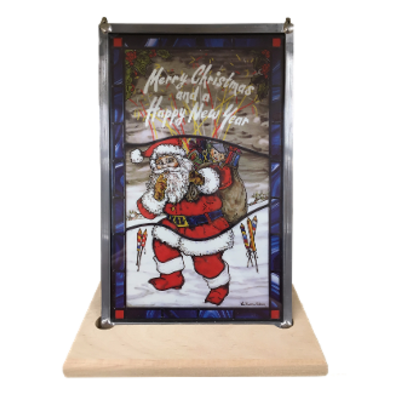 Santa Glass in Lead Merry Christmas