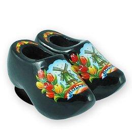 Black Tulips Wooden Shoe Magnet