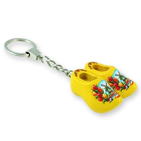 Yellow Double Wooden Shoe Keychain