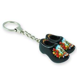 Black Double Wooden Shoe Keychain