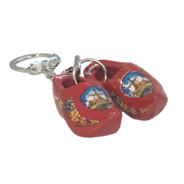 Red Double Wooden Shoe Keychain