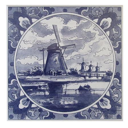 Delft Blue Windmill Tile
