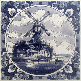 Delft Blue Windmill Tile (2 for $10.00)