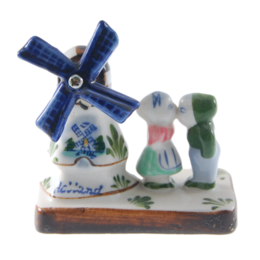 Coloured  Windmill with Kissing Couple  8cm