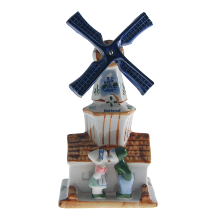 Coloured  Windmill with Kissing Couple 24cm