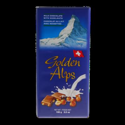 Golden Alps Swiss Milk Chocolate with Hazelnut 100g
