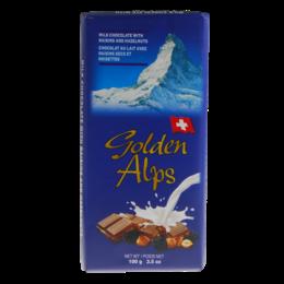 Golden Alps Swiss Milk Chocolate with Raisins Hazelnut 100g