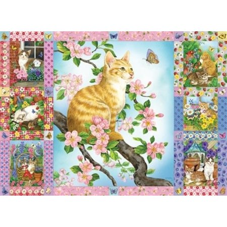 Blossoms and Kittens Quilt Puzzle 1000pc