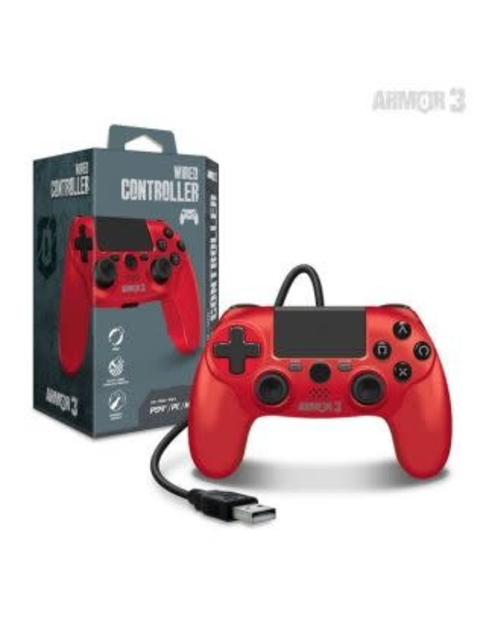 Wired Game Controller for PS4 / PC / Mac (Red) - Armor3